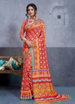 Red Silk Printed Party Wear Saree