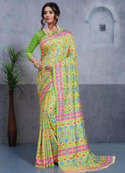 Light Green Silk Printed Party Wear Saree