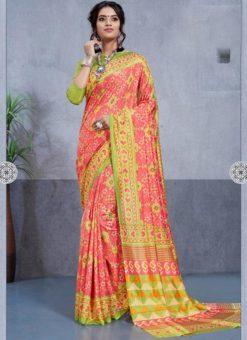 Multicolor Silk Printed Party Wear Saree