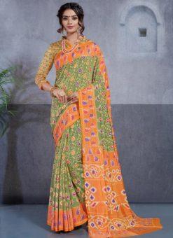 Green And Orange Silk Printed Party Wear Saree