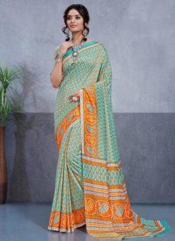 Rama Green Silk Printed Party Wear Saree