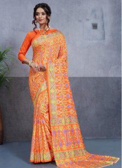 Orange Silk Printed Party Wear Saree