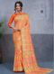 Orange Silk Printed Party Wear Saree