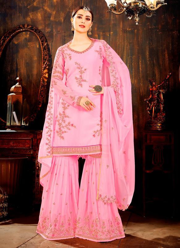 d09acc3d36 Pink Faux Georgette Embroidered Work Pakistani Salwar Kameez ...
