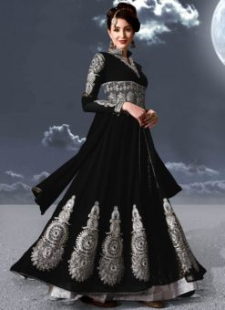 Black Faux Georgette Embroidered Work Designer Anarkali Salwar Kameez