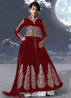 Maroon Faux Georgette Embroidered Work Designer Anarkali Salwar Kameez
