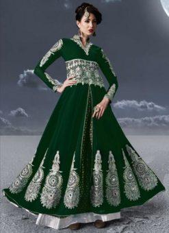 Green Faux Georgette Embroidered Work Designer Anarkali Salwar Kameez