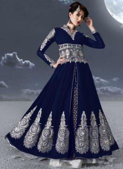 Navy Blue Faux Georgette Embroidered Work Designer Anarkali Salwar Kameez