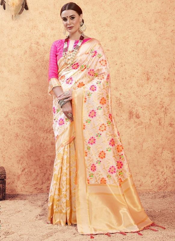 7c52dcb407 Multicolor Banarasi Silk Zari Weaving Traditional Saree -- Indian Wedding  Dress Fiji | Buy Salwar Kameez Online Fiji - USA UK Canada