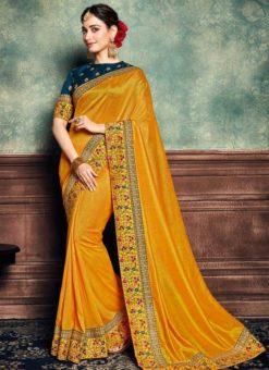Yellow Silk Patch Border Designer Saree