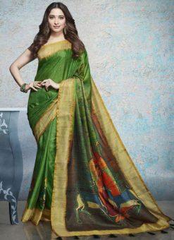 Green Linen Cotton Printed Saree