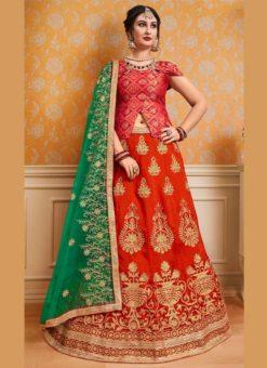 Red Banglori Silk Embroidered Work Wedding Lehenga Choli