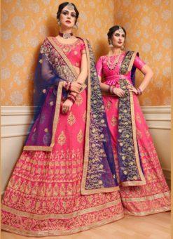 Pink Banglori Silk Embroidered Work Wedding Lehenga Choli