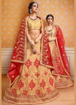 Beige Banglori Silk Embroidered Work Wedding Lehenga Choli