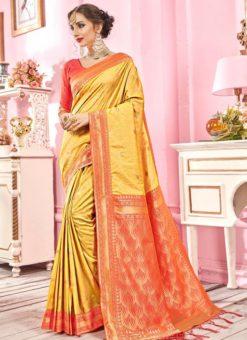Yellow Silk Zari Weaving Wedding Saree