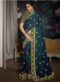 Navy Blue Silk Lace Border Designer Saree