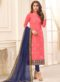Navy Blue Cotton Casual Wear Churidar Salwar Kameez