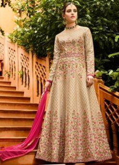 Beige Art Silk Embroidered Work Designer Floor Lehgth Salwar Kameez