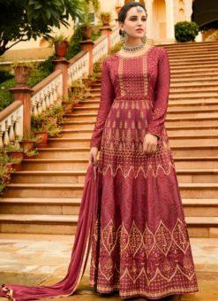 Pink Art Silk Embroidered Work Designer Floor Length Salwar Kameez
