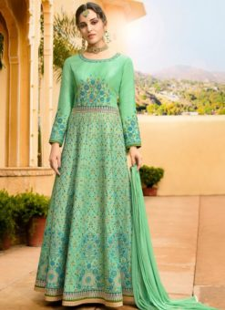 Sea Green Art Silk Embroidered Work Floor Length Salwar Kameez