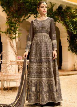 Grey Art Silk Embroidered Work Designer Floor Length Salwar Kameez