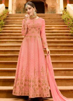 Peach Art Silk Embroidered Work Designer Floor Length Salwar Kameez