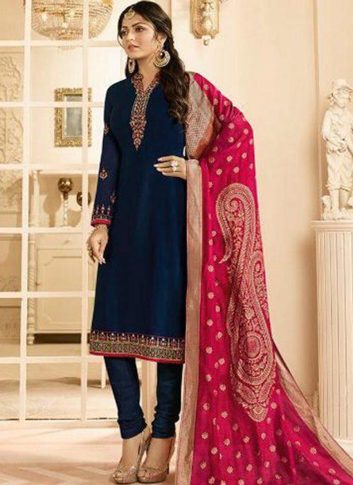 Navy Blue Satin Designer Party Wear Churidar Salwar Kameez