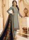 Grey Satin Designer Party Wear Churidar Salwar Kameez
