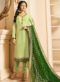 Green Satin Designer Party Wear Churidar Salwar Kameez
