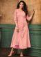 Pink Satin Cotton Thread Work Party Wear Kurti