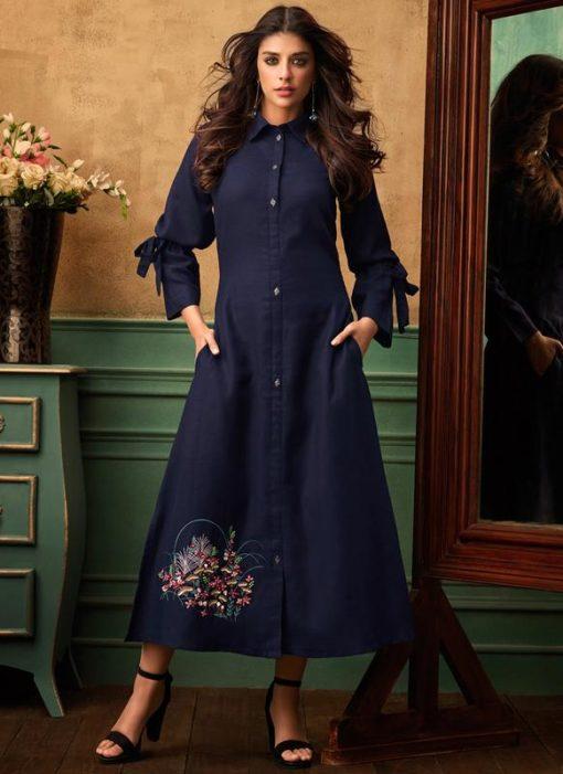 Navy Blue Satin Cotton Thread Work Party Wear Kurti