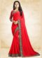 Red Georgette Printed Casual Wear Saree