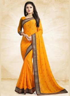 Musturd Yellow Georgette Printed Casual Wear Saree