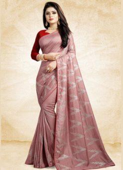 Pink Silk Printed Party Wear Saree
