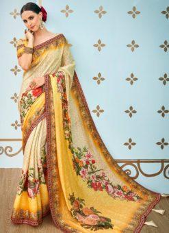 Cream And Yellow Banarasi Silk Printed Designer Saree