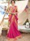 Peach And Pink Georgette Resham Work Party Wear Saree