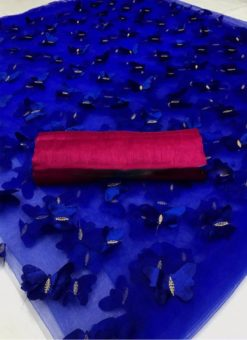 Blue Net Cut Work Butterfly Designer Saree