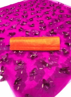 Pink Net Cut Work Butterfly Designer Saree