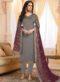 Grey Satin Embroidered Work Party Wear Salwar Kameez