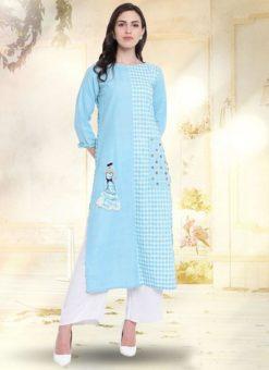 Sky Blue Cotton Casual Wear Kurti