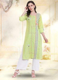 Green Cotton Casual Wear Kurti