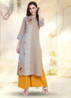 Beige Cotton Casual Wear Kurti