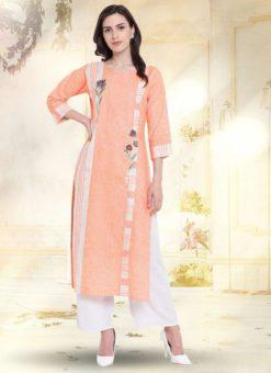 Orange Cotton Casual Wear Kurti