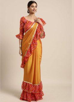 Mustard Yellow Satin Bandhani Border Designer Saree