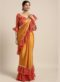 Mustard Yellow Satin Bandhani Border Designer Saree