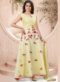Yellow Chanderi Silk Embroidered Work Party Wear Gown