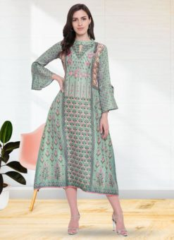 Green Georgette Designer Printed Kurti