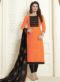 Orange Cotton Embroidered Work Churidar Salwar Kameez