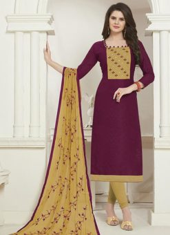 Purple Cotton Embroidered Work Churidar Salwar Kameez