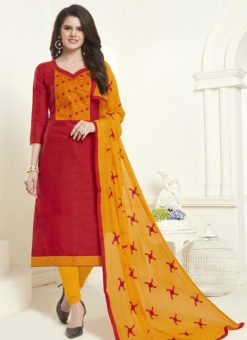 Red Cotton Embroidered Work Churidar Salwar Kameez